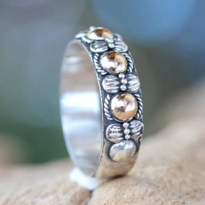 Hand Crafted Silver Ring with Accents in 18k Gold