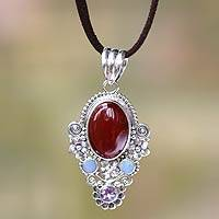 Carnelian and opal pendant necklace, 'Floral Paradise' - Carnelian Floral Necklace with Opal and Amethyst