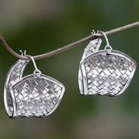 Sterling silver hoop earrings, Denpasar Weaving