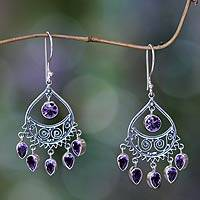 Amethyst chandelier earrings, 'Tears of the Sun' - Amethyst Crafted Amethyst Chandelier Earrings