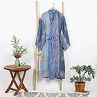Batik robe, 'Vintage Baliku' - Long Rayon Batik Women's Robe