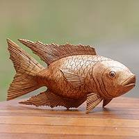 Wood sculpture, 'Goldfish' - Hand Carved Wood Detailed Sculpture