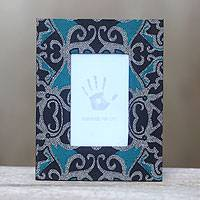 Cotton batik photo frame 'Lung-lungan' - Blue and Black Handcrafted Cotton Batik Photo Frame