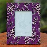 Cotton batik photo frame, 'Mega Mendung' - Handcrafted Cotton Batik Photo Frame