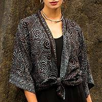 Batik jacket, 'Javanese Dove' - Gray and Black Javanese Batik Style Rayon Jacket