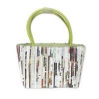 Recycled paper shoulder bag, 'Fresh Green News' - Recycled Paper and Cotton Handcrafted Shoulder Bag
