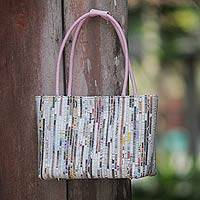 Recycled paper shoulder bag, 'Sweet Pink News' - Recycled Paper Shoulder Bag with Cotton lining