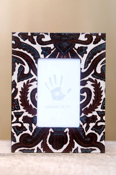 Cotton batik photo frame, 'Sido Mulyo' - Handcrafted Cotton Batik Photo Frame