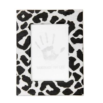 Recycled paper photo frame, 'Wild Monochrome Leopard' (4x6) - Handcrafted Recycled Paper Photo Frame (4x6)