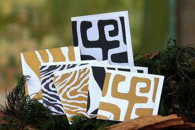 Recycled paper greeting cards, 'Hypnotic Safari' (set of 6) - Handmade Recycled Paper Blank Greeting Cards (set of 6)