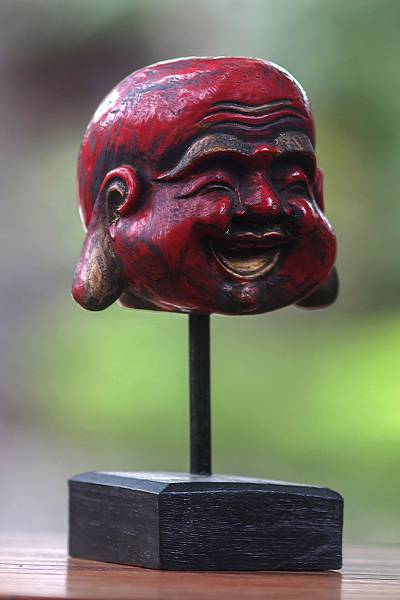 Wood sculpture, 'Laughing Red Buddha' - Antique Style Red Buddha Sculpture