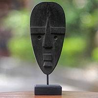 Wood mask, 'Ancestral Icon' - Vintage Finish Table Top Balinese Mask