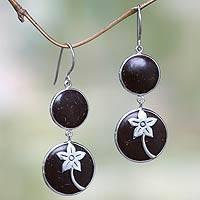 Coconut shell and sterling silver flower earrings, 'Tropical Jasmines' - Handcrafted Coconut Shell and Sterling Silver Earrings