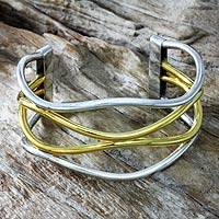 Gold accent cuff bracelet, 'Sunset Surf' - 18k Gold Accent Handcrafted Silver Bracelet