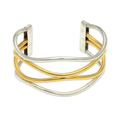 18k Gold Accent Handcrafted Silver Bracelet
