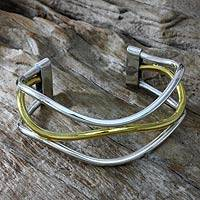 Gold accent cuff bracelet, 'Sunset Wave' - Handcrafted Silver Bracelet with 18k Gold Accents