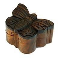 Wood puzzle box, 'Bali Butterfly' - Hand Crafted Butterfly Puzzle Box from Bali