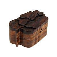 Wood puzzle box, Bali Hibiscus Blossom - Hand Crafted Hibiscus Puzzle Wood Box from Bali