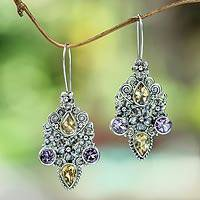 Citrine and amethyst dangle earrings, 'Secret Garden' - Balinese Citrine and Amethyst Silver Earrings