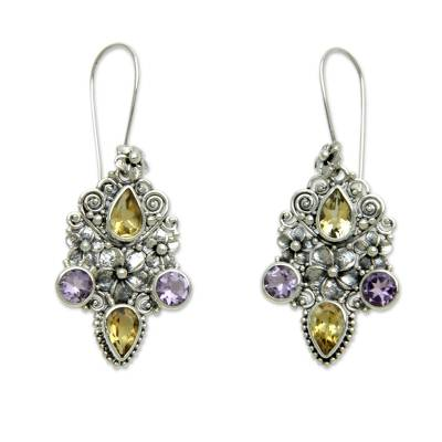 Balinese Citrine and Amethyst Silver Earrings
