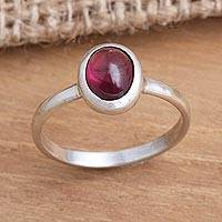 Garnet single stone ring, 'Love's Fire' - Fair Trade Jewelry Garnet and Sterling Silver Ring