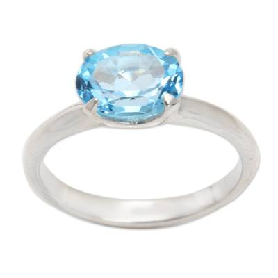 Fair Trade Blue Topaz Solitaire Ring 2 cts