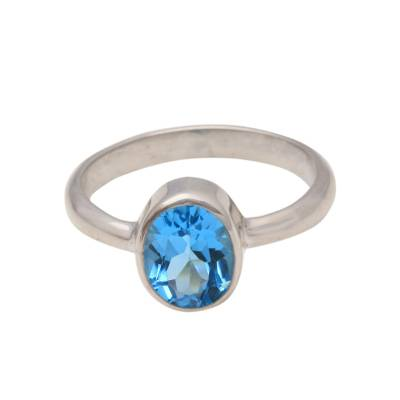 London Blue Topaz and Sterling Silver Ring