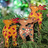 Wood ornaments, 'Christmas Kijangs' (set of 4) - Handcrafted Wood Deer Ornaments (set of 4)