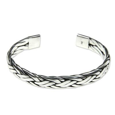 Braided Sterling Silver Cuff Bracelet from Bali