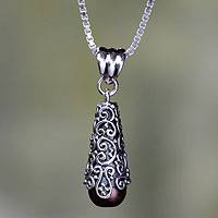 Cultured pearl pendant necklace, 'Brown Arabesque Dewdrop' - Sterling Silver and Brown Cultured Pearl Pendant Necklace