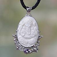 Amethyst pendant necklace, 'Balinese Lord Ganesha' - Amethyst and Silver Balinese Lord Ganesha Necklace