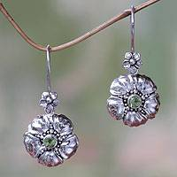 Peridot flower earrings, 'Hibiscus' - Handcrafted Balinese Peridot Flower Earrings