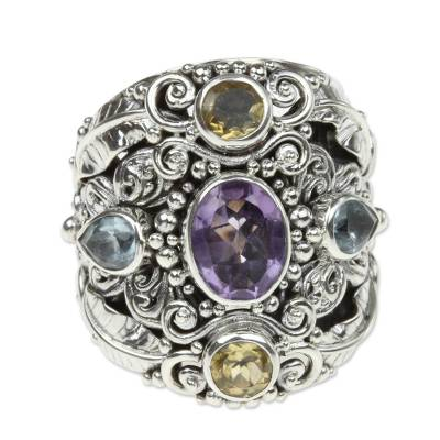 Balinese Amethyst and Blue Topaz Silver Cocktail Ring