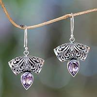 Amethyst dangle earrings, 'Dewdrop Fern' - Balinese Artisan Crafted Amethyst Earrings
