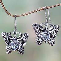 Blue topaz dangle earrings Enchanted Butterfly (Indonesia)