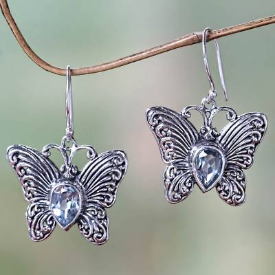 Blue topaz dangle earrings, Enchanted Butterfly