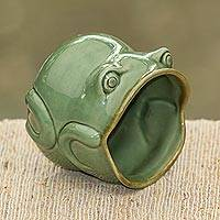 Ceramic mug, 'Opera Frog' - Handcrafted Frog Shaped Glazed Ceramic Mug
