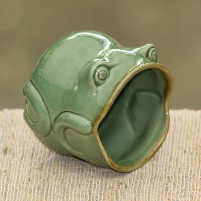 Ceramic salt cellar, 'Opera Frog' - Handcrafted Frog Shaped Glazed Ceramic Salt Cellar
