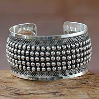 Sterling silver cuff bracelet, 'Empress' - Artisan Crafted Cuff Bracelet