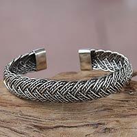Sterling silver cuff bracelet, 'In Braids' - Balinese Braided Sterling Silver Cuff Bracelet