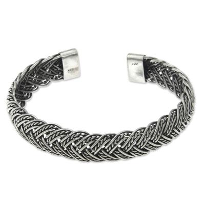 Balinese Braided Sterling Silver Cuff Bracelet