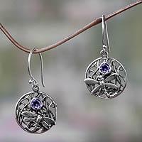 Amethyst dangle earrings, 'Wild Dragonfly'