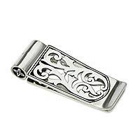 Sterling silver money clip, 'Balinese Mangrove' (Indonesia)