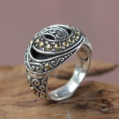 silver ring low price job - Balinese Silver Cocktail Ring with 18k Gold Accents