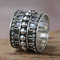 Sterling silver band ring, 'Moon Journey' - Balinese Handcrafted Wide Silver Band Ring