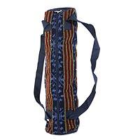Cotton yoga mat bag, 'Dream Flower' - Balinese Handwoven Yoga Mat Bag