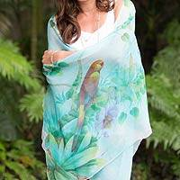 Silk shawl, 'Tropical Birds' - Hand Painted Bird Theme Signed Silk Chiffon Shawl