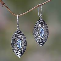 Blue topaz dangle earrings, 'Elegant Origin' - Blue Topaz in Handcrafted Sterling Silver Earrings