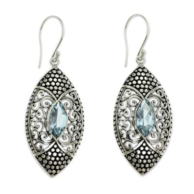 Blue Topaz in Handcrafted Sterling Silver Earrings
