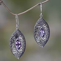 Amethyst dangle earrings, 'Elegant Origin' - Amethyst in Handcrafted Sterling Silver Earrings